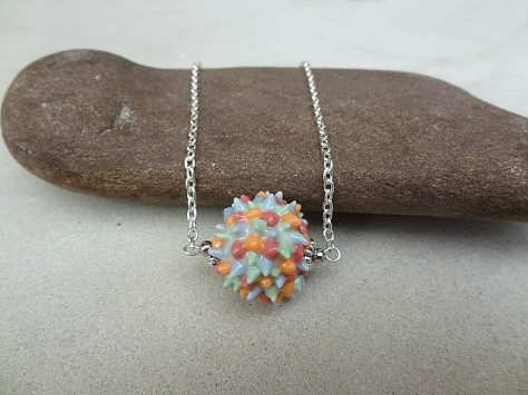 Spiky bead on silver chain 2